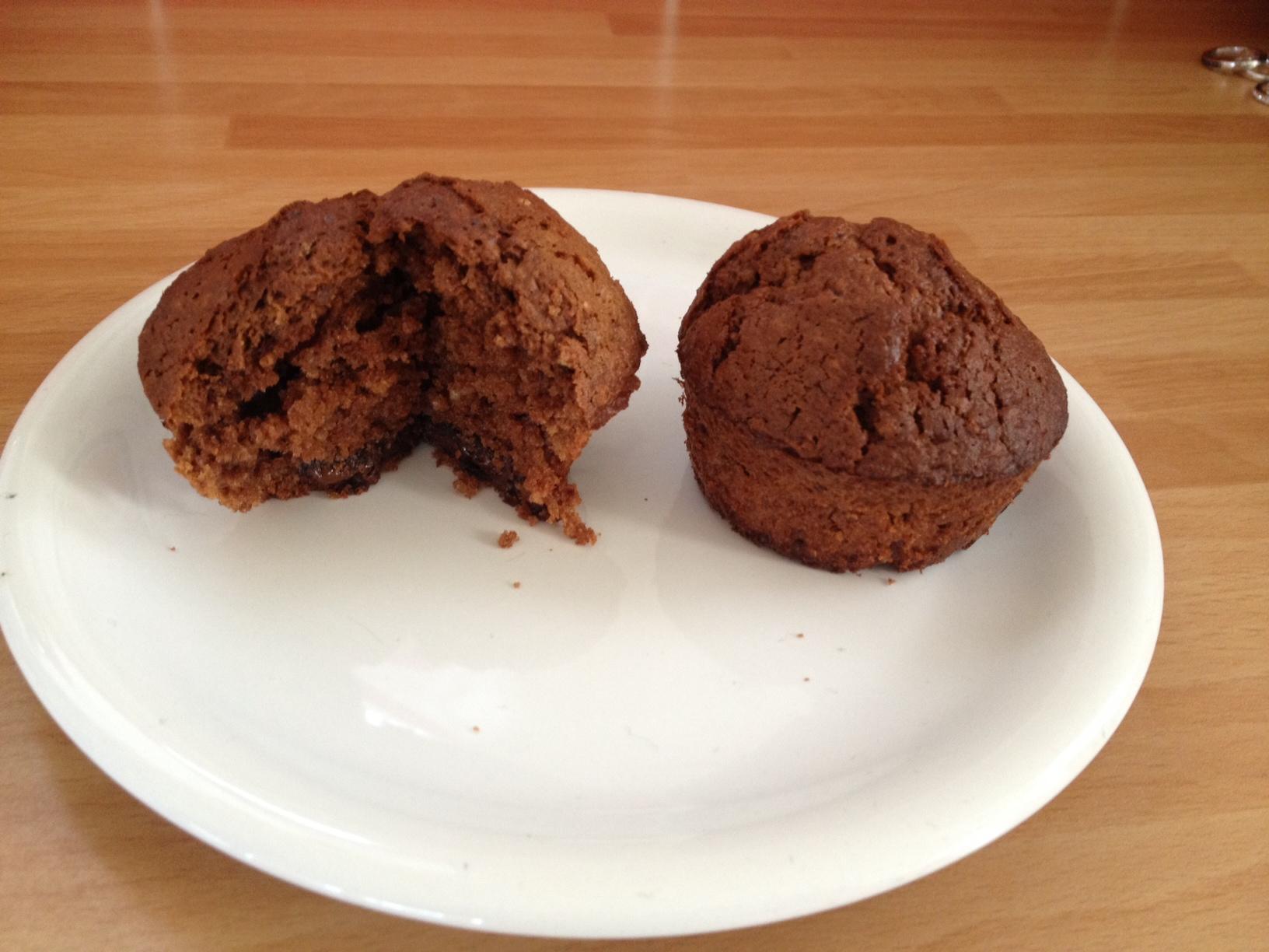 Muffins au chocolat coeur fondant et pépites de chocolat blanc